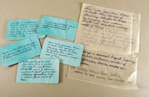Tracing from original writings (right), finished cards (left).